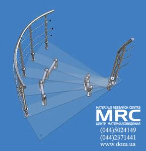 3D модели участков стеклянной лестницы с ограждениями из нержавеющей стали