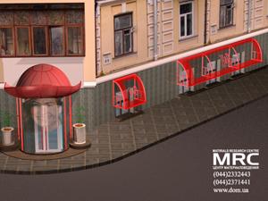 3D-модель входной группы и каскада стеклянных навесов  над окнами