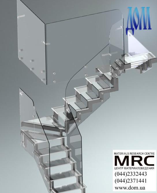 Стеклянная лестница c ограждением из стекла, визуализация из дизайн-проекта