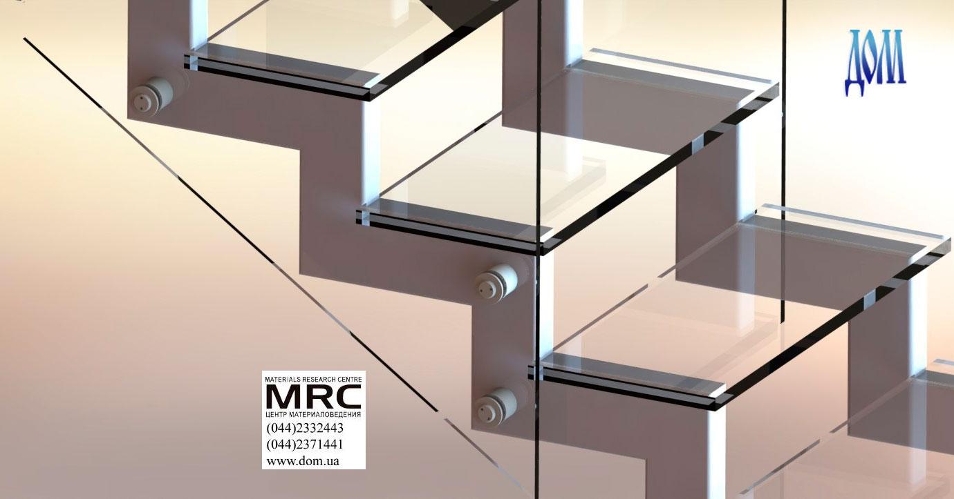 Стеклянная лестница c ограждением из стекла, 3d визуализация
