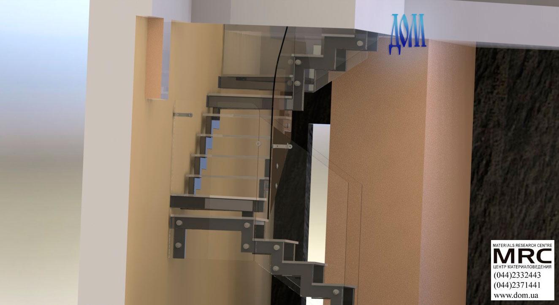 Стеклянная лестница c ограждением из стекла, 3d модель лестницы и ограждения