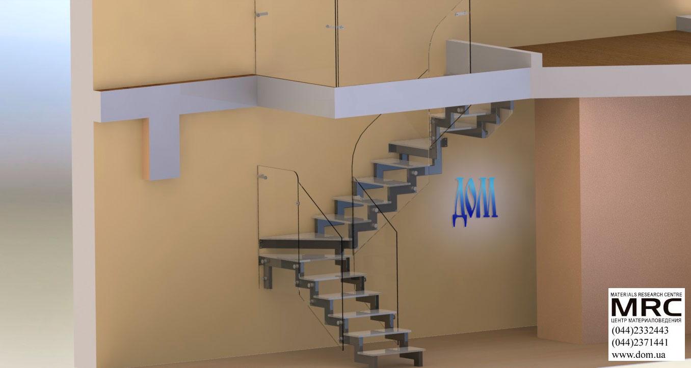 лестница со стеклянными ступенями 3d