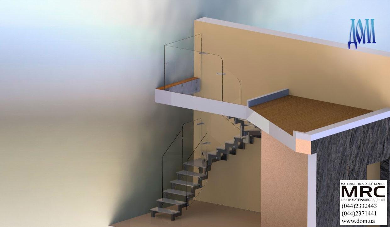 Стеклянная лестница c ограждением из стекла, 3d модель