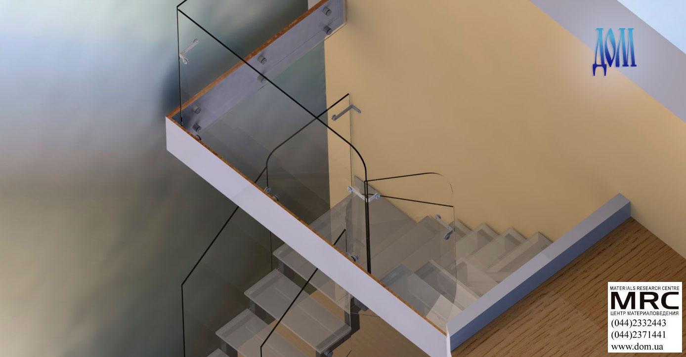 Лестница со стеклянными ступенями.  визуализация лестницы в 3d