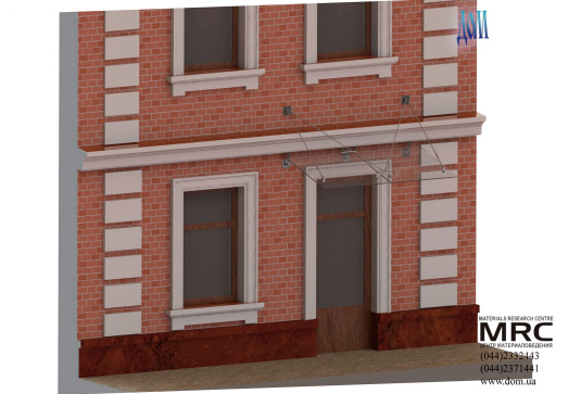 3d визуализация стеклянного козырька из дизайн проекта