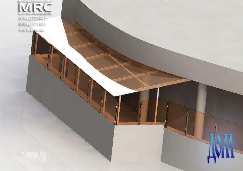 Навес над правым балконом террасы, вид в 3d