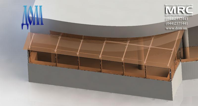 Стекло навес над правым балконом террасы, вид в 3d