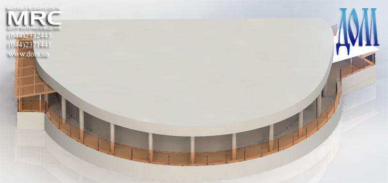 3d модель террасы с двумя навесами и стеклянным ограждением