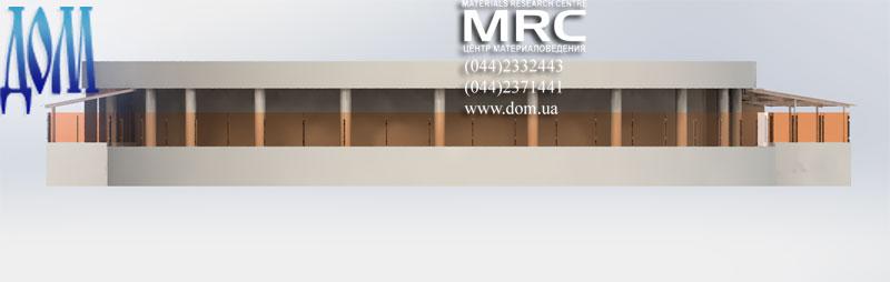 Навесы над террасой, общий вид на 3d модели