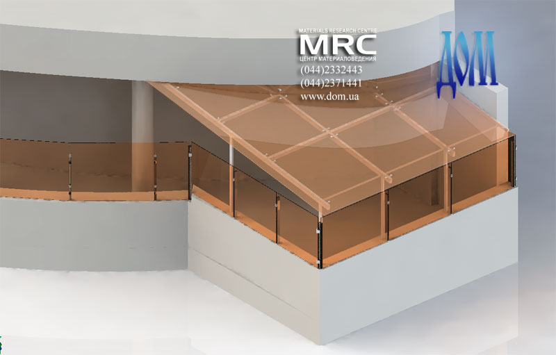 Навес над левым балконом террасы,изображение 3d