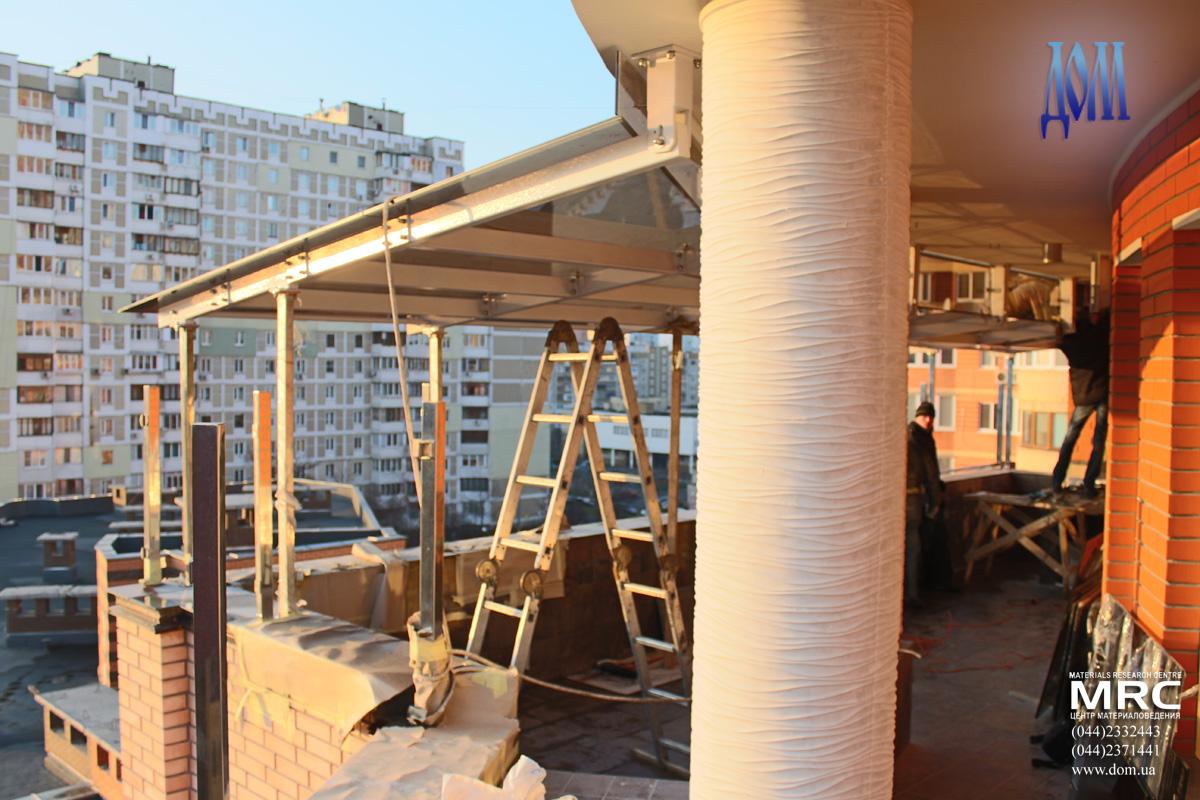 Сборка металлоконструкции навеса над террасой