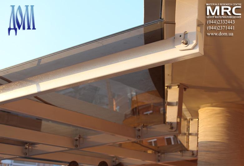 Металлоконструкция навеса, панели из каленного бронзового стекла триплекс