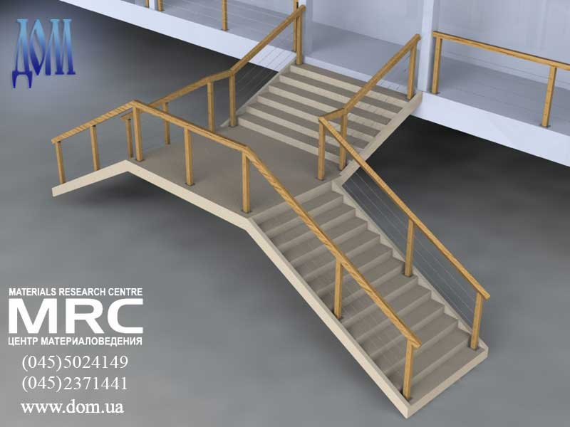 3D визуализация деревянного ограждения - лестница наружная
