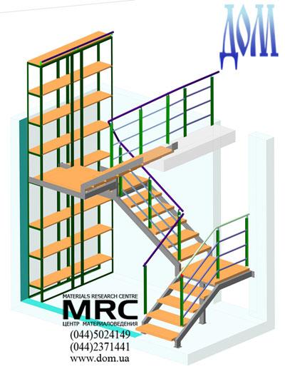 3D модель огорожі сходів із дубовими східцями