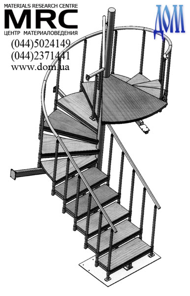Рхема (чертеж) винтовой чугунной лестницы 2050S - с подступенком.