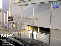 Glass porte-cocheres and canopies that apply to protection of stair to blide area